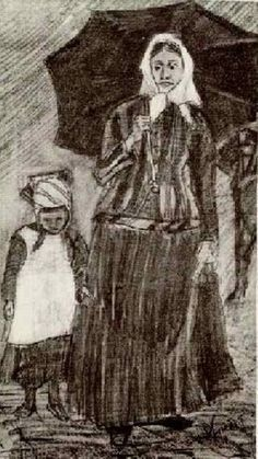 Sien under Umbrella with Girl by Vincent van Gogh