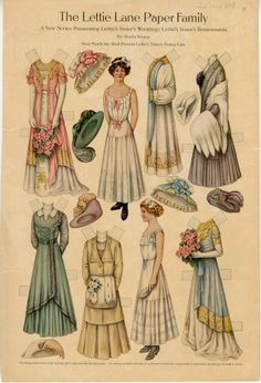 The Lettie Lane Paper Family: Lettie's Sister's Bridesmaids  paper doll  1910  Artist	:  Sheila Young