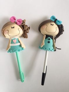 This listing is for dolls Options: Doll in pen Pins Magnets Item can be customized with name. Foam Crafts, Diy And Crafts, Arts And Crafts, Marble Nail Art, Pencil Toppers, Pen Holders, Clay Art, Girly Things, Alice