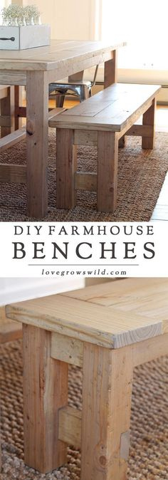 Learn how to build an easy DIY Farmhouse Bench - perfect for saving space in a small dining room! Details at LoveGrowsWild.com