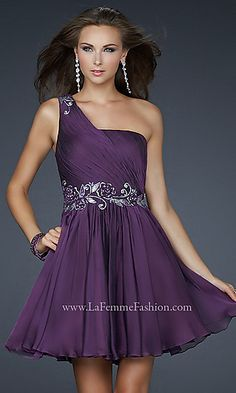 Short One Shoulder Chiffon Dress, Eggplant... Would love this in a long dress