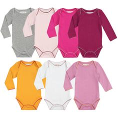 Pack of seven baby girl bodysuits made of soft cotton jersey. Rounded neckline. Long sleeves. Popper fastening inside the legs. Edges trimmed with a contrast rickrack braid. Comes in several colours. - $CA62.36