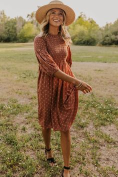 Pattern Detail Midi Dress - Women's Summer and Fall Dresses | ROOLEE