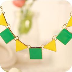 Punk geometric triangle square oil drip green and yellow neck lace