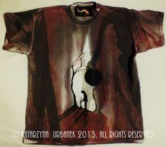 "T-shirt ""Forlorn ..."" malowany ręcznie © Katarzyna Urbanek , All rights reserved https://www.facebook.com/lunarisart"