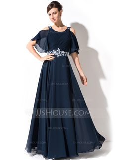 A-Line/Princess Scoop Neck Floor-Length Lace Beading Sequins Cascading Ruffles Zipper Up at Side Sleeves 1/2 Sleeves No 2015 Dark Navy Spring Summer Fall General Plus Chiffon Mother of the Bride Dress