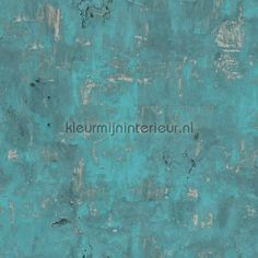 Verweerd staal turquoise behang EW3501, Exposed Warehouse van Dutch Wallcoverings