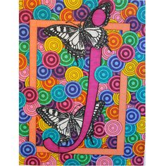 """large initial art print """"Butterfly J"""" alphabet 11 x14 reproduction"""