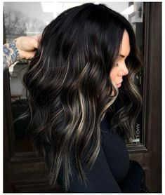 Black Hair With Highlights, Hair Color For Black Hair, Black Hair With Lowlights, Makeup With Black Hair, Dying Hair Black, Plum Black Hair, Dyed Black Hair, Bleaching Black Hair, Blonde Peekaboo Highlights