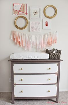 gray coral pink and gold girl nursery, DIY ombre garland, wall collage