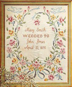 "Stamped Cross Stitch Samplers | ... Paragon ""Wedding"" Marriage Stamped Cross Stitch Linen Sampler Kit"