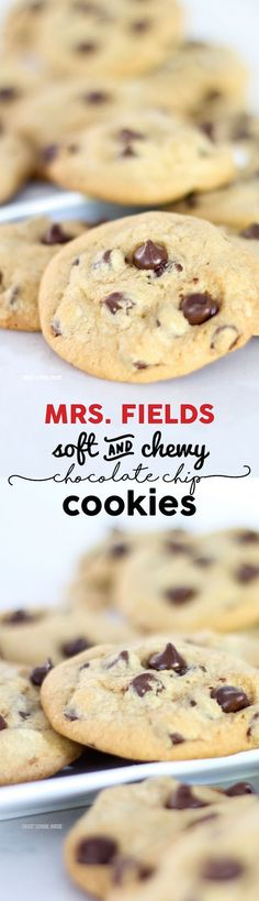 Fields Chocolate Chip Cookie Recipe - homemade blue ribbon cookies at their… Cookie Desserts, Just Desserts, Cookie Recipes, Delicious Desserts, Snack Recipes, Dessert Recipes, Yummy Food, Snacks, Mrs Fields Chocolate Chip Cookies