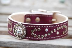 Jolene Plum Aubergine Purple Leather Dog by PupPlanetDogCollars, $70.00