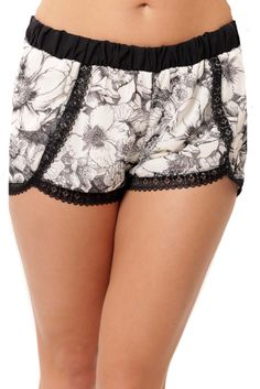 Silky Lace Shorts - Black / Ivory