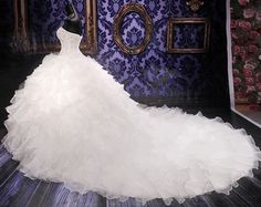 New White ivory Organza Wedding Dress Bridal dress Ball Gown Custom size 2-20