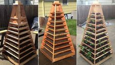 If you don't have enough room to plant fresh veggies or herbs or other gardening yourself this year, try DIY Vertical Garden Pyramid Planter. Jardin Vertical Diy, Vertical Planter, Vertical Garden Diy, Vertical Gardens, Small Gardens, Diy Planters, Garden Planters, Herb Garden, Vegetable Garden