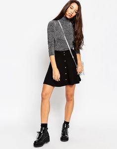 Image 1 ofASOS Mini Skater Skirt with Poppers