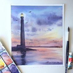 Blue-violet lighthouse. Фиолетовый без фиолетого для #это_все_о_цвете_фиолетовый. Получилось больше в синюю сторону, но фиолетовый же многолик)) У меня здесь два синих - индиго и прусская (и капля церулеума кое-где) плюс розовый хинакридон и красный, ну