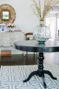 Wichita Falls Foyer - gorgeous entry table with pops of coral & mint Designed by Jana Bek Design, janabek.com Check out Jana Bek Design on Instagram & Facebook!