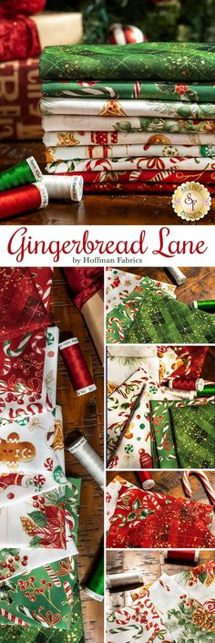 Gingerbread Lane is an adorable metallic Christmas collection by Hoffman Fabrics! Add these holiday prints to your next holiday quilt.