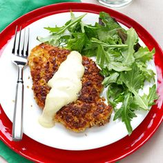 Pretzel-Crusted Chicken with Mixed Greens Recipe -The secret to crunchy success for this pretzel-crusted chicken recipe is grinding up the sourdough pretzel nuggets until they're finely crushed. You can change up the pretzel flavor by using hot buffalo wing or buttermilk ranch nuggets. —Kerri Balliet, Mequon, Wisconsin