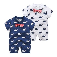 939c9fc9d44 2017 New Born Baby Clothes Short Sleeve Whale Print Baby Newborn Romper  Baby Boys Jumpsuits Infant Baby Girls clothing Costume