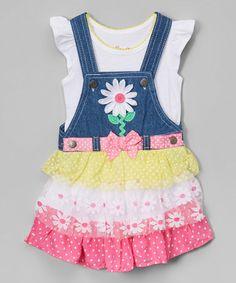 Another great find on #zulily! White Tee & Daisy Denim Ruffle Overalls - Toddler & Girls #zulilyfinds