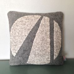 Circle Pillow 2 - A one of a kind pillow, hand felted from Norwegian wool. Sturdy brushed denim bull cotton backing. Down/feather pillow stuffer included. Dandelion Designs, Felt Pillow, Feather Pillows, Down Feather, Felt Art, Cushions, Textiles, Felting, Throw Pillows