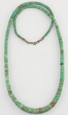 """VTG Old Pawn Southwestern Sterling Silver Naturaul Turquoise Heishi Necklace 28"""""""