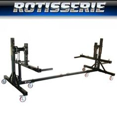 """W-ROTISSERIE  **********************************************  Restore your next project car body or frame with this professional grade auto body rotisserie.  Priced for the enthusiast, built for the professional – provides 360º of rotation with """"Bottoms Up"""" access for paint removal, body work and painting.  **********************************************  LEARN MORE AT: http://www.derekweaver.com/rodders-garage/auto-rotisserie/w-rotisserie/"""