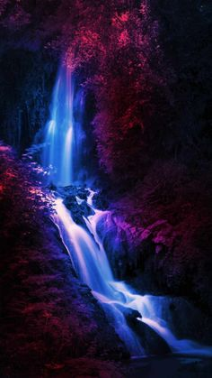 Deep Forest Waterfall - IPhone Wallpapers