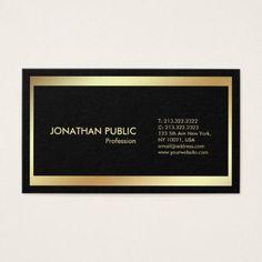 Elegant Black Gold Modern Professional Plain Business Card - #chic gifts diy elegant gift ideas personalize