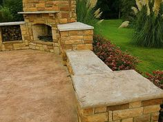custom countertops mantle more for outdoor living space, concrete masonry, concrete countertops, countertops, fireplaces mantels, outdoor living, Custom concrete with carved edge by Burco Surface Decor LLC
