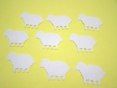 Free Shipping - 100 White Sheep Lambs Die Cuts Cutout Punch Confetti Baby Shower Embellishment Scrapbook