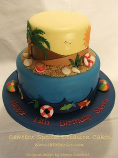 Tropical vacation birthday cake