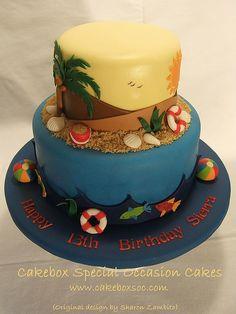Tropical vacation birthday cake