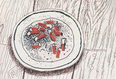 David Hockney's sketchbook page, Ashtray on Studio Floor, 2002
