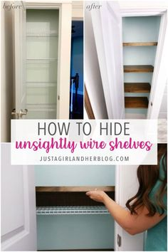 Learn how to hide wire shelving with these easy DIY wood faux floating shelves! | #wireshelves #diyshelves #woodshelves #floatingshelves Wire Shelving, Wooden Shelves, Floating Shelves, Small Linen Closets, Hidden Shelf, Hide Wires, Pocket Hole Screws, Dark Walnut Stain, Ship Lap Walls