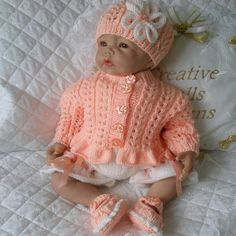 """Knitting Pattern 17-22"""" Reborn Doll, 0-3 Month Baby Available as a PDF instant download from www.creativedollsdesigns.co.uk"""
