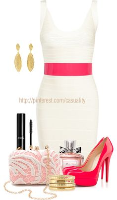 """Herve Leger Dress & Pink"" by casuality on Polyvore"