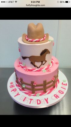 One tiered with horse on top