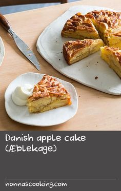 Danish apple cake (Æblekage) | The simplicity of this cake is what makes it so special. A simple buttercake, layered with sliced apples and a cinnamon this one you will come back to time-and-time again. Apple Recipes Easy, Sliced Apples, Apple Slices, Apple Cake, Danish, Cinnamon, French Toast, Simple, Breakfast