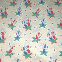 Vintage Christmas Tissue Wrapping Paper or Gift Wrap with Red and Blue Candles on Green Stars