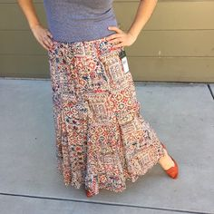 RALPH LAUREN Boho Maxi Skirt So Boho and so comfy!!! Draw string elastic waist maxi skirt by Lauren Jeans Co. Pair with an oversized cardi and a PSL for the perfect fall boho look.  Brand new!  Ralph Lauren Skirts Maxi