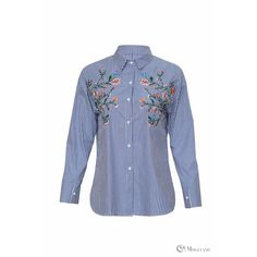 Ladies blue stripe bold floral embroidered button down shirt ...