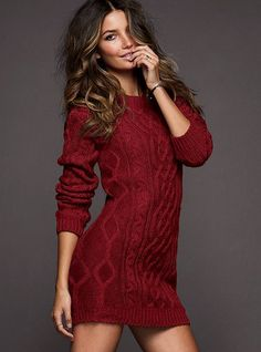 """Slouchy Cable Sweaterdress A sexy update on a cozy classic. Oversized sweaterdress can be worn belted or slouchy and layered with leggings 18"""" from waist Machine wash cold with like colors inside out. Tumble dry low. Imported acrylic/wool Wine Heather"""