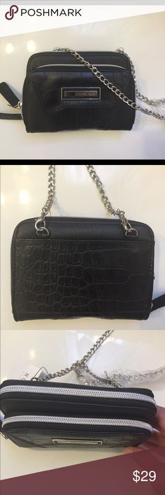 """🎀CROC EMBOSSED KENNETH COLE CROSSBODY WALLET NET Kenneth Cole Tech device crossbody wallet on a chain. Crocodile embossed.Silver tone hardware details. Cards currency and coin pockets. Sized to fit most devices. Measurements: 6""""x4"""" x1.5"""". Two zip-around compartments. Kenneth Cole Reaction Bags Wallets"""