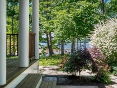 Sunny, peaceful & tranquil. This Shingle-style cottage enjoys 300 ft of waterfront. Details include: cherry floors, designer kitchen, a copper roof, extensive built-ins, stonework, decks, patio w/hot-tub, porch, movie-theatre, & gym. Septic is for 4BR.  http://www.legacysir.com/maine-real-estate/140-Groves-Road-Yarmouth-maine-04096/1143359/