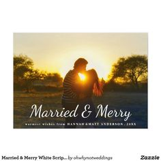 Married & Merry White Script Typography Photo Card Married & Merry White Script Typography Photo