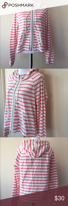 American Eagle Pink White Stripe Hoodie Size XL Excellent condition American Eagle Outfitters Tops Sweatshirts & Hoodies
